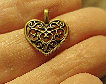 6 Hollow Heart Charms, 6 Bronze Heart Pendant