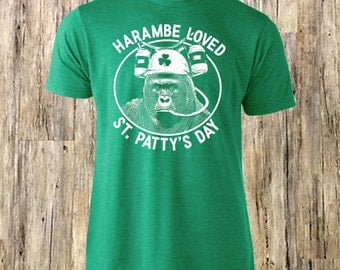 Harambe Loved St Patty's Day   Funny St Patricks Day T shirt   Harambe Tee   Harambe Shirt   Irish Harambe