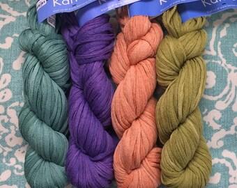 Berroco Karma 5.50 +1.50ea to Ship Cotton Yarn Mesh Tape Ribbon Yarn Malachite-Purple-Orange-Green. FREE PATTERNS Summer Tops, Cardigan