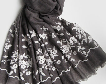 Grey scarf, Embroidery designs, Floral scarf, Lightweight scarf, embroidery scarf for spring, summer and fall