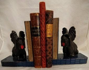 Vintage carved wood terrier dog bookends vintage dog bookends dog collectible vintage dog figurine