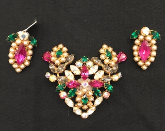Vintage Austrian Crystal Brooch & Earrings
