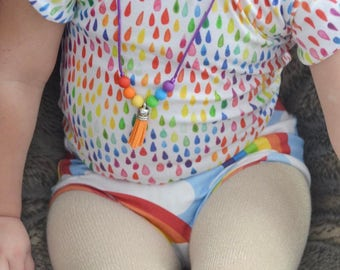 Rainbow Tassel Necklace - Toddler Necklace - Toddler Jewelry - Silicone Teething Necklace - Rainbow Necklace - Necklace for Kids