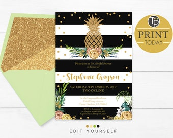 GOLD PINEAPPLE BRIDAL Shower Invitation, Instant Download, Gold Glitter Pineapple Bridal Shower Invitation, Black and Gold Bridal Shower
