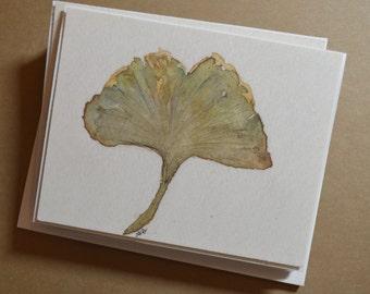 Watercolor Gingko Leaf Notecards - Set of 4 Gingko Leaf Notecards with Envelopes
