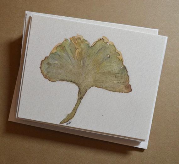 Watercolor Gingko Leaf Notecards - Set of 8 Gingko Leaf Notecards with Envelopes