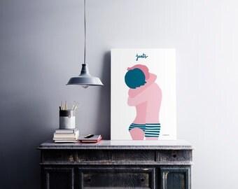 Ilustración 'Junts'. El amor más puro para decorar tu hogar. Pareja de enamorados. Regalo bonito. Ilustración. Decoración de casa. Lámina.