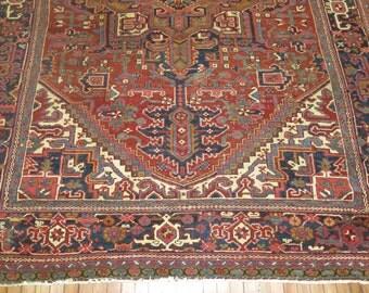 Antique Persian Heriz Rug Size 8'2''x10'8''