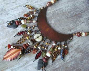 Rustic Tribal Yoke Necklace ~Knotted Artisan Lampwork & Ceramic Necklace, Autumnal Boho Statement Necklace, OOAK Ethnic Moon Beaded Necklace