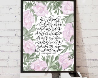 Lamentations a Scripture Digital Print // Peonies