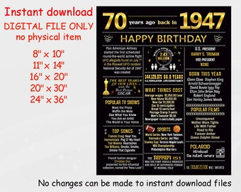 70th Birthday Sign, Chalkboard Poster Gold, Back in 1947, Events 1947 USA, 70 Years Ago, Birthday Gift, Born in 1947 DIGITAL FILE  d4-2