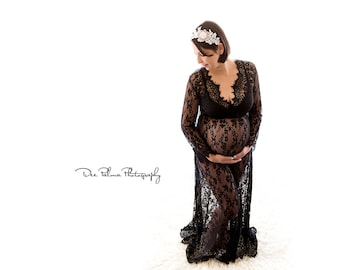 Maternity Dress - Victoria - Midnight Black - XS to XXL (Petite to Plus) - Lace - Full Sleeve - Full Length