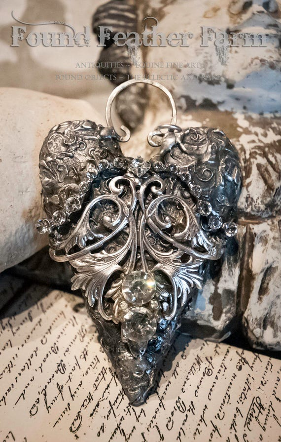 Fabulous Handmade Heart Pendant with Vintage Crystals and a French Silver Detail