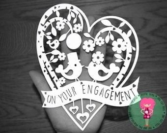Engagement paper cut svg / dxf / eps / files and pdf / png printable templates for hand cutting. Digital download. Small commercial use ok.
