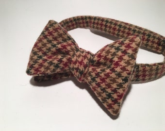 Thick Tweed Houndstooth Bow Tie