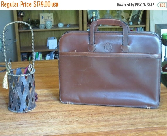 Football Days Sale Vintage Mark Cross Mahogany Brown Leather Briefcase, Attache, Laptop Case, I Pad Case, Messenger Bag, Made in Italy