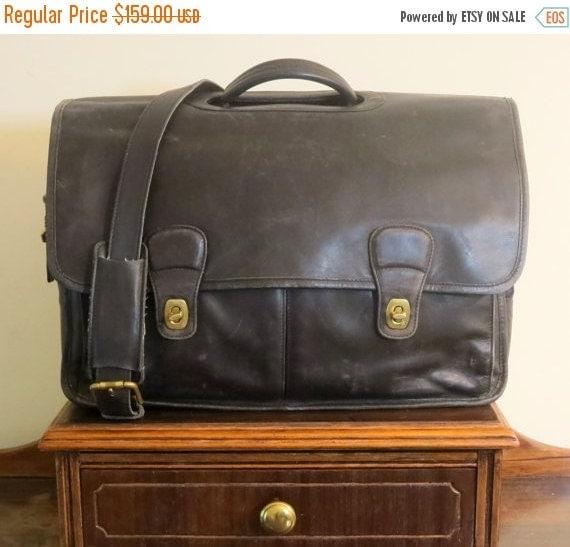 Football Days Sale Coach Organizer Briefcase Attache Laptop IPad Case Style No. 532 - Black Leather Brass Hardware - Vintage With Modern Sto
