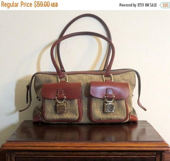 Football Days Sale Vintage Dooney & Bourke Fabric And Brown Leather Trim Handbag- VGC
