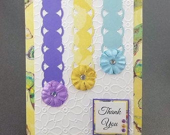 Handmade Yellow and Blue Thank You Card