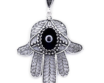 Filigree Hamsa Pendant with Black Evil Eye Bead - SP212