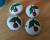 """Small Molly Hooper Inspired Cherry Print Fabric Buttons 3/4"""""""