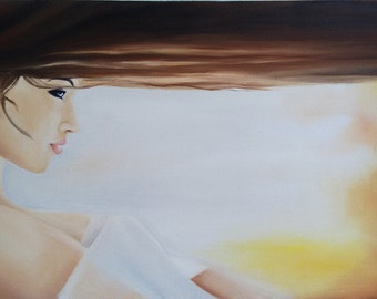 Romance, Original Painting, Oil on Canvas, Lovely Girl/Dream/Magic/Image