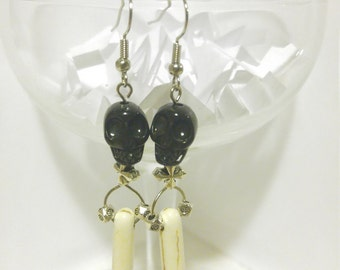 Black Skull Bone Spike Earrings