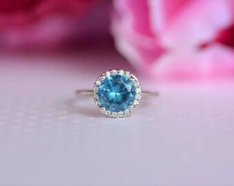 Sterling Silver Blue Topaz Cz Ring. December Birthstone Ring. Gemstone Ring. Solitaire Ring. Unique design blue topaz cz ring. Silver Ring.