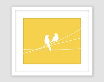 Horizontal Mustard Yellow and White, Birds on a Wire Print, Animal Wall Art, Modern Art, Instant Download, DIY, Printable
