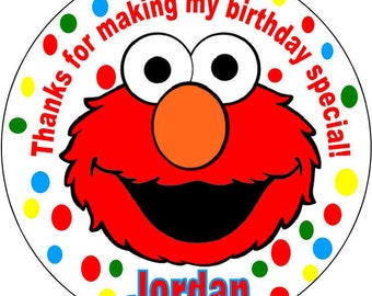 12 printed Elmo Baby 1st Sesame Street Theme Birthday Party Stickers 2.5 inch Round Personalized kids