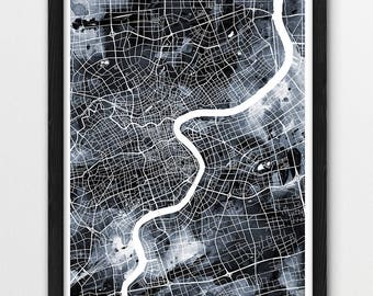 Shanghai City Urban Map Poster, Shanghai Street Map Print, Shanghai Watercolor Grey Black White, Shanghai China Wall Art, Modern Printable