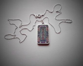 Cloisonne enamel pendant with a silver chain
