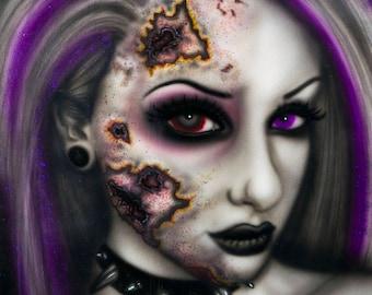 Love Sincerely Infection Art Print, Colorful Horror Portrait