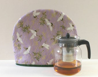 Japanese Tea Cozy, Tea warmer with insulation. Handmade Teapot cozy is an excellent gift for tea lovers. Crane Bird Tea cotton cozies.