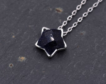 Shining Bright - Sterling Silver Dainty Little Star Pendant Necklace with Blue Sandstone Semi-Precious Gemstones 18'' z92