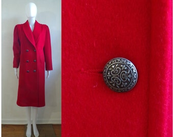 35%offJuly17-20 red felted wool coat size small, 80s fortsmann minimalist winter coat, 1980s womens double breasted wool coat