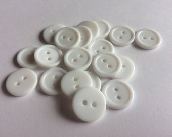 15mm white rimmed plastic 2 hole buttons x 30