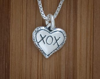 Xs and Os Heart Charm or Earrings -STERLING SILVER- Chain Optional