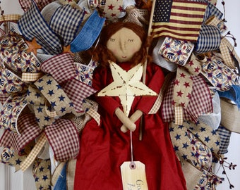Rustic Country Americana Burlap Mesh Wreath; Primitive Patriotic Decor Wreath Fourth of July Memorial Labor Day Wreath; Flag Decor Wreath