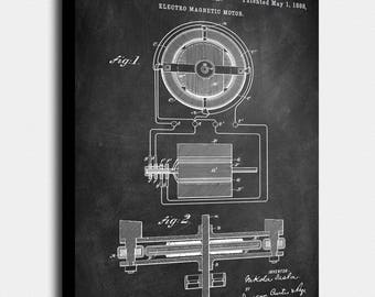 Tesla electromagnet motor patent vintage poster screen tesla electro magnetic motor canvas print tesla electro magnetic motor patent vintage art malvernweather Gallery