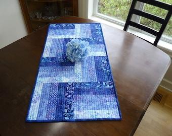 Quilted Batik table runner in blue, lavender, purple