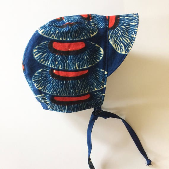 Blue and red bold African print baby bonnet kids hat