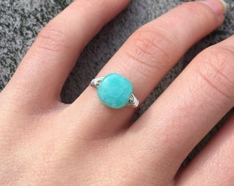 Best Seller! Peruvian Opal Ring | Aquamarine Ring | Soft Teal Ring | Medium Square Ring | Blue Green Ring | Tropical Blue Ring |Gift for Her
