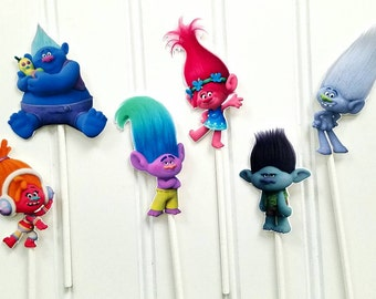 Trolls Cupcake Toppers, Trolls cupcake picks, Trolls Birthday, Trolls party supplies, Trolls cake toppers, poppy troll cupcake picks, trolls