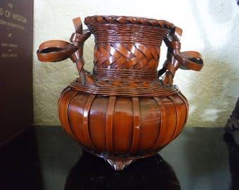 Wicker Vase, Wicker Vase Ceramic Insert, Vintage Hand Woven Wicker Vase, Intricate Woven Vase with Ceramic Insert, Unique Basket Handmade