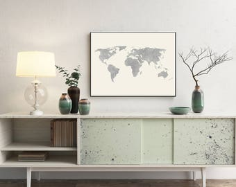 Silver gray distressed, rustic world map with off white background. Wanderlust, travel wall art and home decor. Rustic, Shabby-chic design.