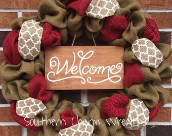 Red & White Burlap Summer Welcome Wreath