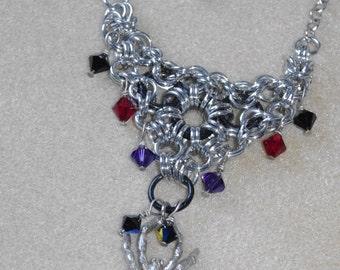 Chain Maille Spider Necklace