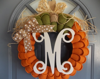 Pumpkin Wreath, Burlap Wreath, Fall Wreath, Thanksgiving Wreath, Autumn Wreath, Monogram Wreath, Orange Wreath, Shabby Chic Wreath