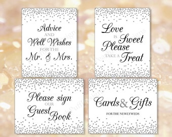 Wedding signage (INSTANT DOWNLOAD) - Wedding signs download - Wedding signage printable - Black and silver wedding W002